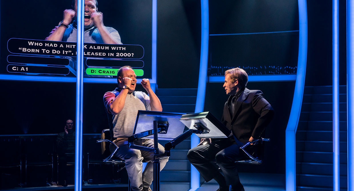 Gavin Spokes and Keir Charles in Quiz at Chichester Festival Theatre. Photo Johan Persson